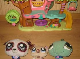 домик дерево и мягкие игрушки петшоп