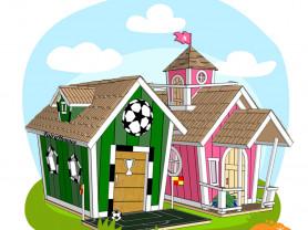 Деревянные детские домики, комплексы и мебель.