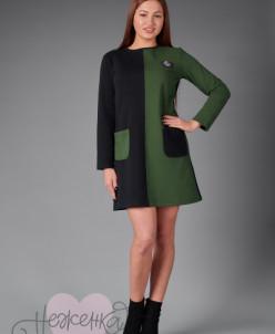Платье П 762 (черный + хаки)