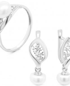 Гарнитур из серебра с культ.жемчугом и фианитами родированны