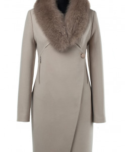 02-1938 Пальто женское утепленное Кашемир Бежевый