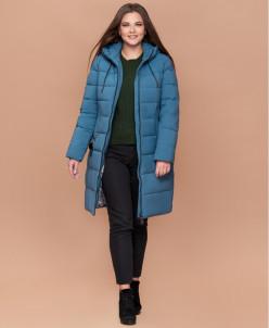 Темно-голубая качественная женская куртка большого размера