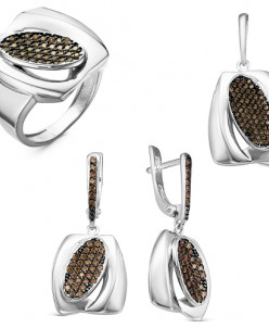 Гарнитур из серебра с коричневыми фианитами родированный