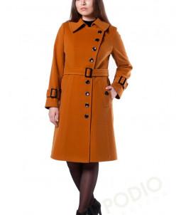 14-0001-43 Пальто женское демисезонное (пояс) Кашемир Горчич