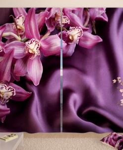 Фотошторы Орхидеи на шелке Габардин