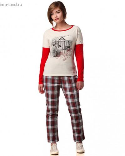 Джемпер+брюки М-246/1-26, экрю+красный
