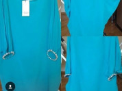Платье новое Ella Luna Италия шёлк размер 44 46 М голубое рукава летучая мышь и браслеты раздвижные со стразами сваровски камни Swarovski белые крупные длина миди мини