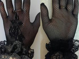 Персатки новые сетка чёрные размер М 44 46 7 стрейч с кружевом женские аксессуары вечерние на выпускной вечер