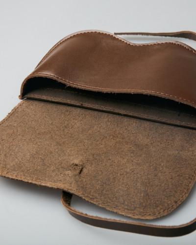 Чехол для очков 100% кожа коричневый, Монголия