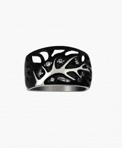Кольцо из серебра Нейлия с чёрной нанокерамикой Юмила