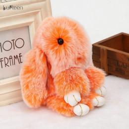 Брелок Зайка Меховой под шиншиллу, оранжевый (18-20 см)