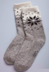 Носки из шерсти 100% серый со снежинкой, Монголия