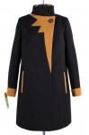 01-4941 Пальто женское демисезонное Кашемир Черно-горчичный