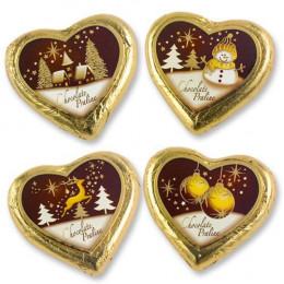 "Пралиновое сердце ""Рождество"", коричневое 5шт"