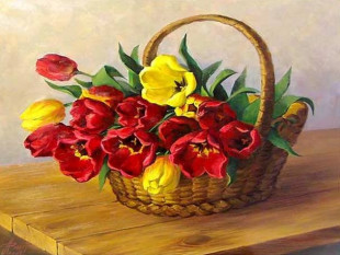 картина по номерам 40Х50 Корзинка тюльпанов