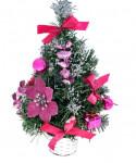 Елка декор 30 см розовая пуансетия в снегу