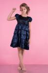 детское нарядное платье модель 018 темно-синее черника