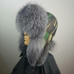 Мужская меховая шапка, мех блюфрост с камуфляжем.