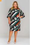 Платье базовое с широкими рукавами, принт абстракция