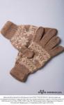 """Перчатки из шерсти """"Верблюд"""" рыжий с рисунком, Монголия"""