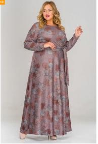 Платье длинное из джерси, принт коричневый