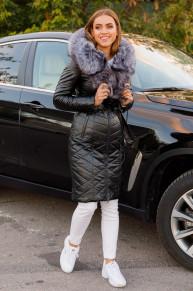 Женская зимняя куртка из эко-кожи 8799 черная