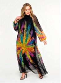 Платье с воротником стойка, шифон абстракция яркая