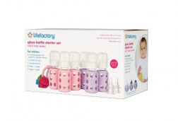 Lifefactory Six-Bottle Starter Set, Spring/Sky, 4 Ounce