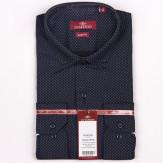 2.17-22-02-16 сорочка притал т.синяя узор средн длин