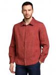 Мужские льняные рубашки БАТАЛ меланж красный (д/рукав)