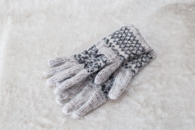 Перчатки из шерсти женские Серые. 100% овечья шерсть
