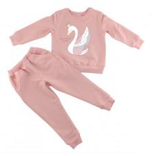 Розовый костюм для девочки с лебедями