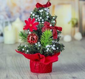 Елка декор 21,5 см шарики красные снег