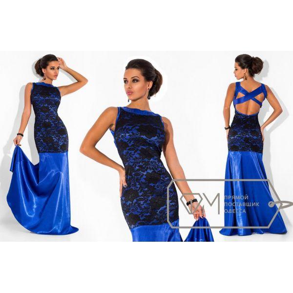 Вечернее платье атлас-гипюр