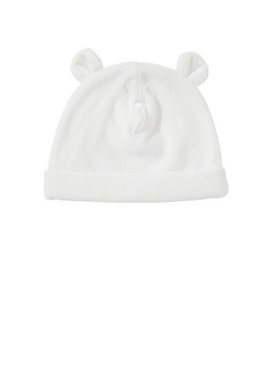 Шапочка фирмы F F. Велюровая , молочного цвета, с ушками и вышивкой Мишка  впереди, внутри трикотажная подкладка. Состав 100% хлопок подкладка и 76%  хлопок, ... 779b087a8dd