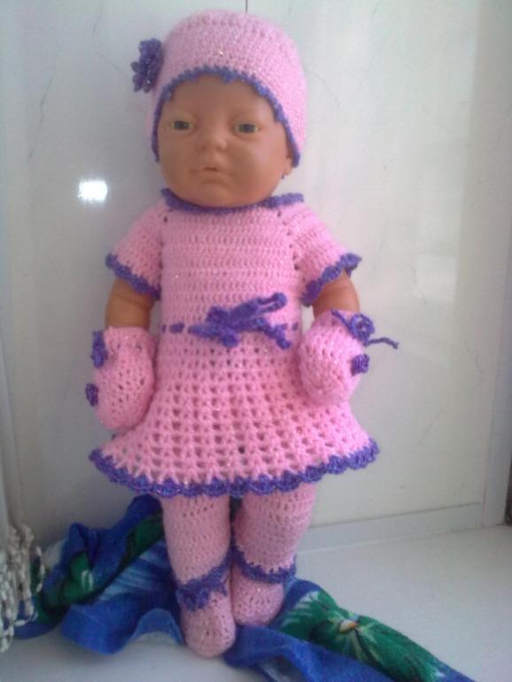 Вяжем крючком платье кукле