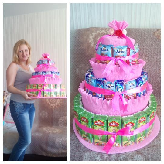 Торт из сладостей для девочки своими руками