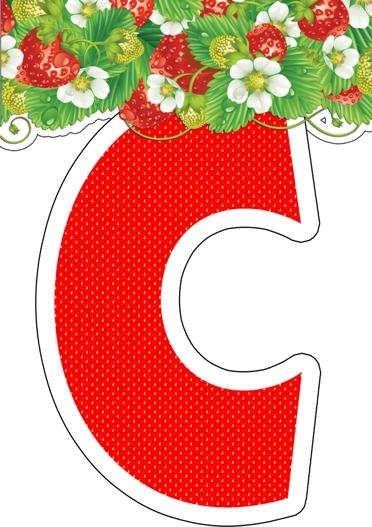 Растяжка «С ДНЕМ РОЖДЕНИЯ» для дня рождения «Клубника»