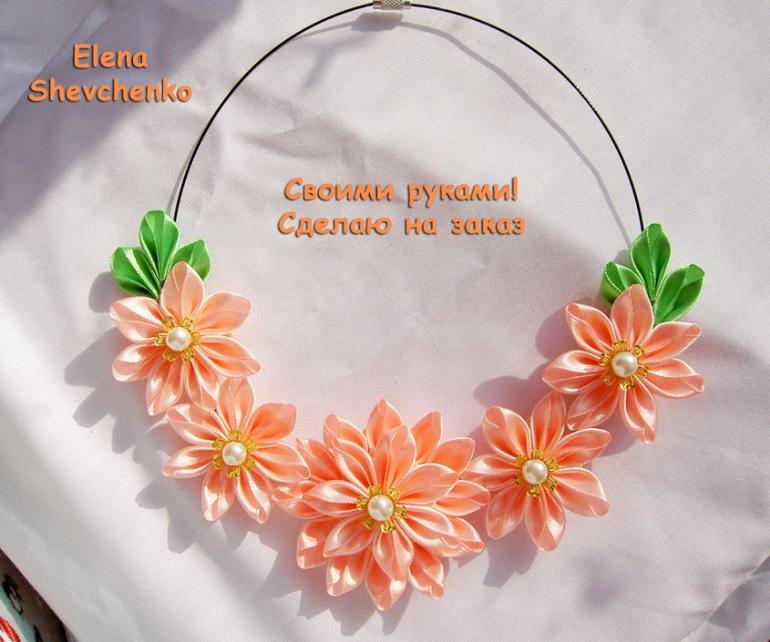 Ожерелье своими руками канзаши 16