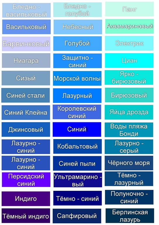 Названия оттенков и цветов цветоделение