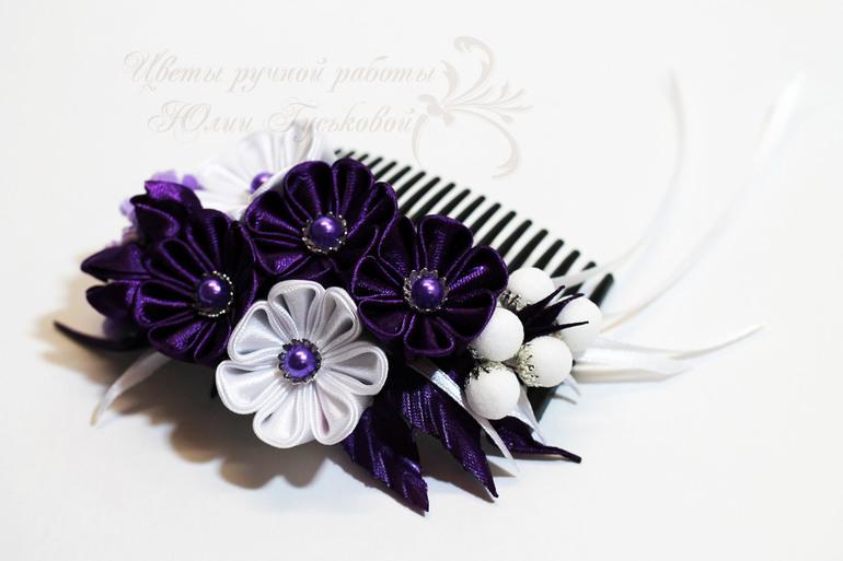 Красивые украшения для волос из атласных лент своими руками