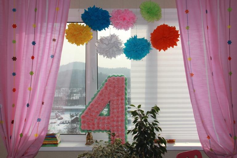 Цифра 4 на день рождения своими руками фото из салфеток на