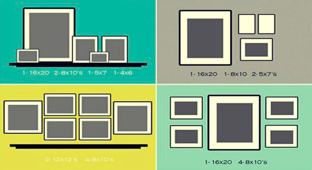 Как повесить фотографии на стене схема