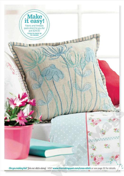 Вышитая подушка, цветы