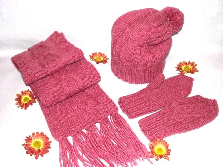 Шапочка, шарф и варежки для девочки