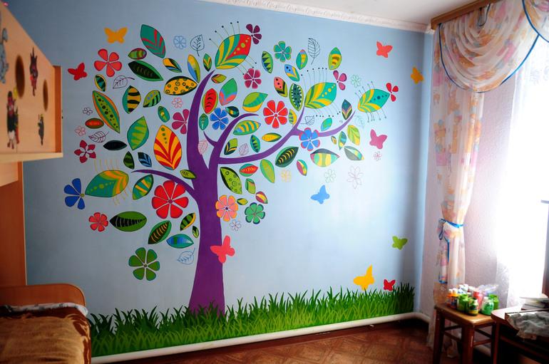 Стены в детской комнате своими руками фото