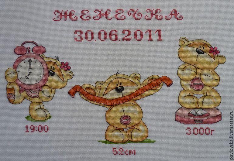 Метрика для вышивки с мишками крестом
