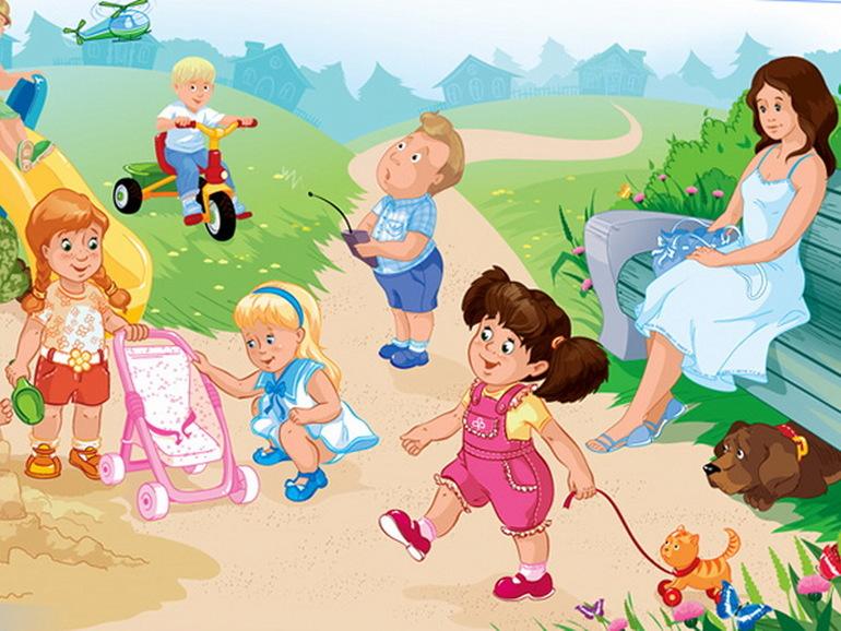 Рисунок прогулка с ребенком