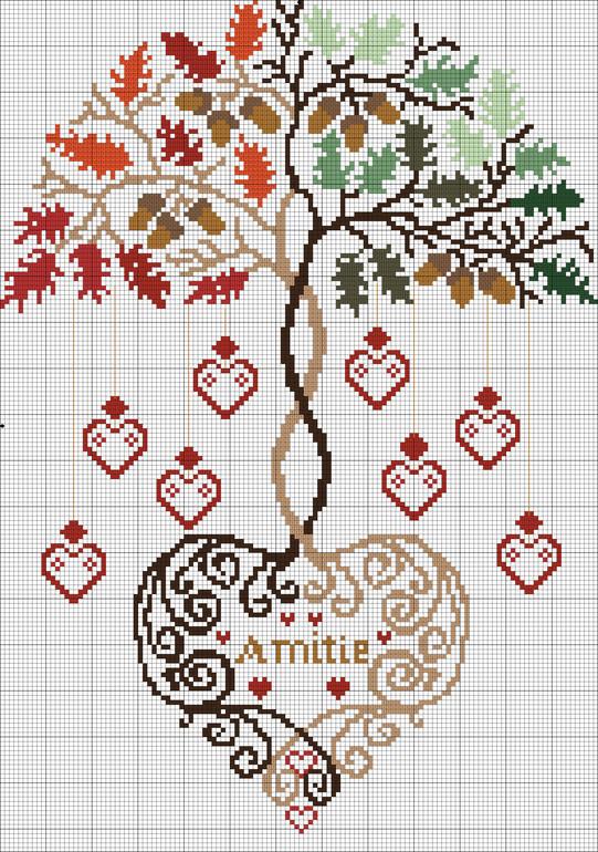 Вышивка крестом дерево-девушка 43