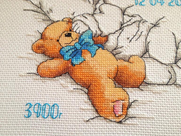 Вышивка крестом для новорожденных мишка
